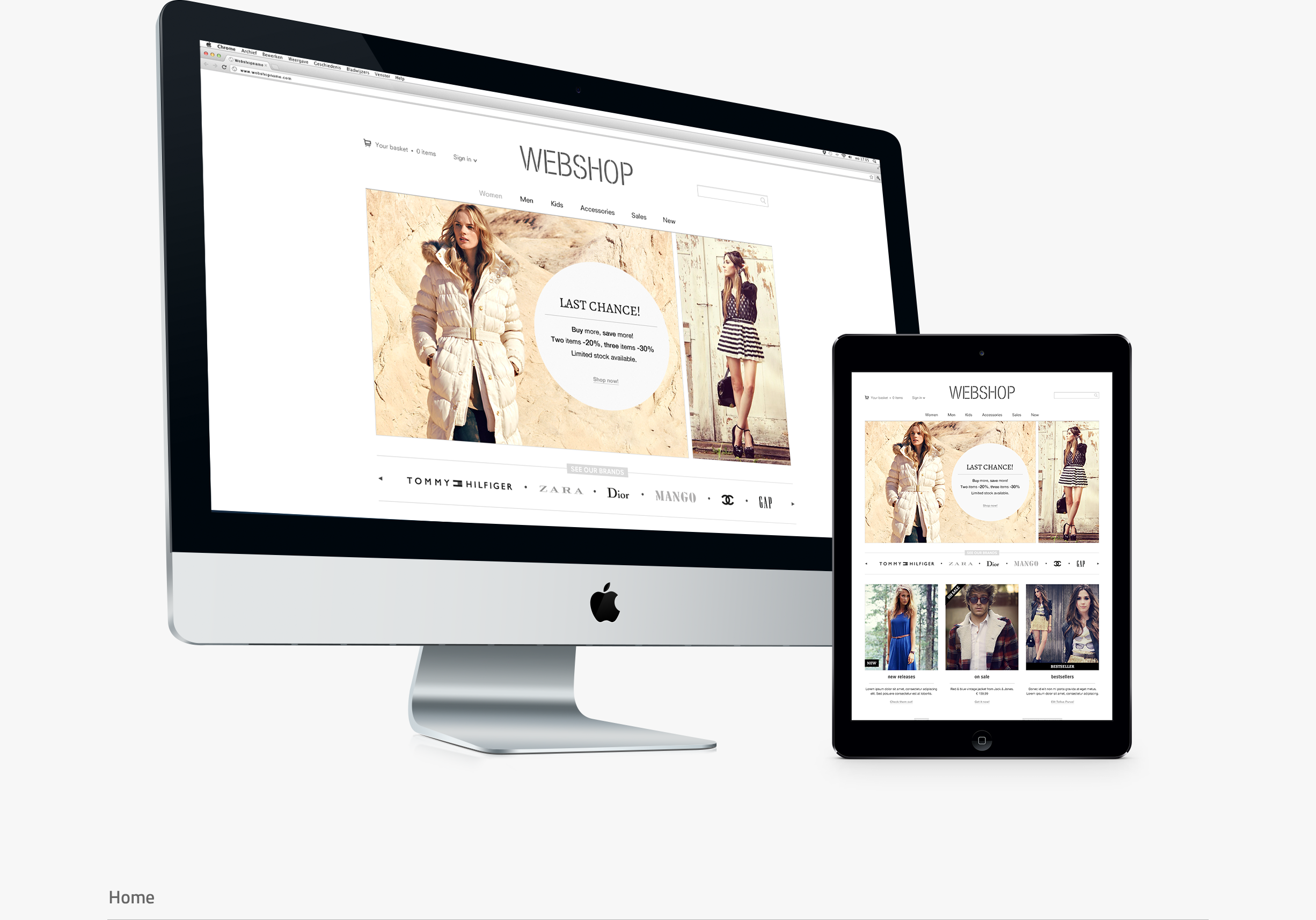 Webshop layout - home screens - ipad - imac