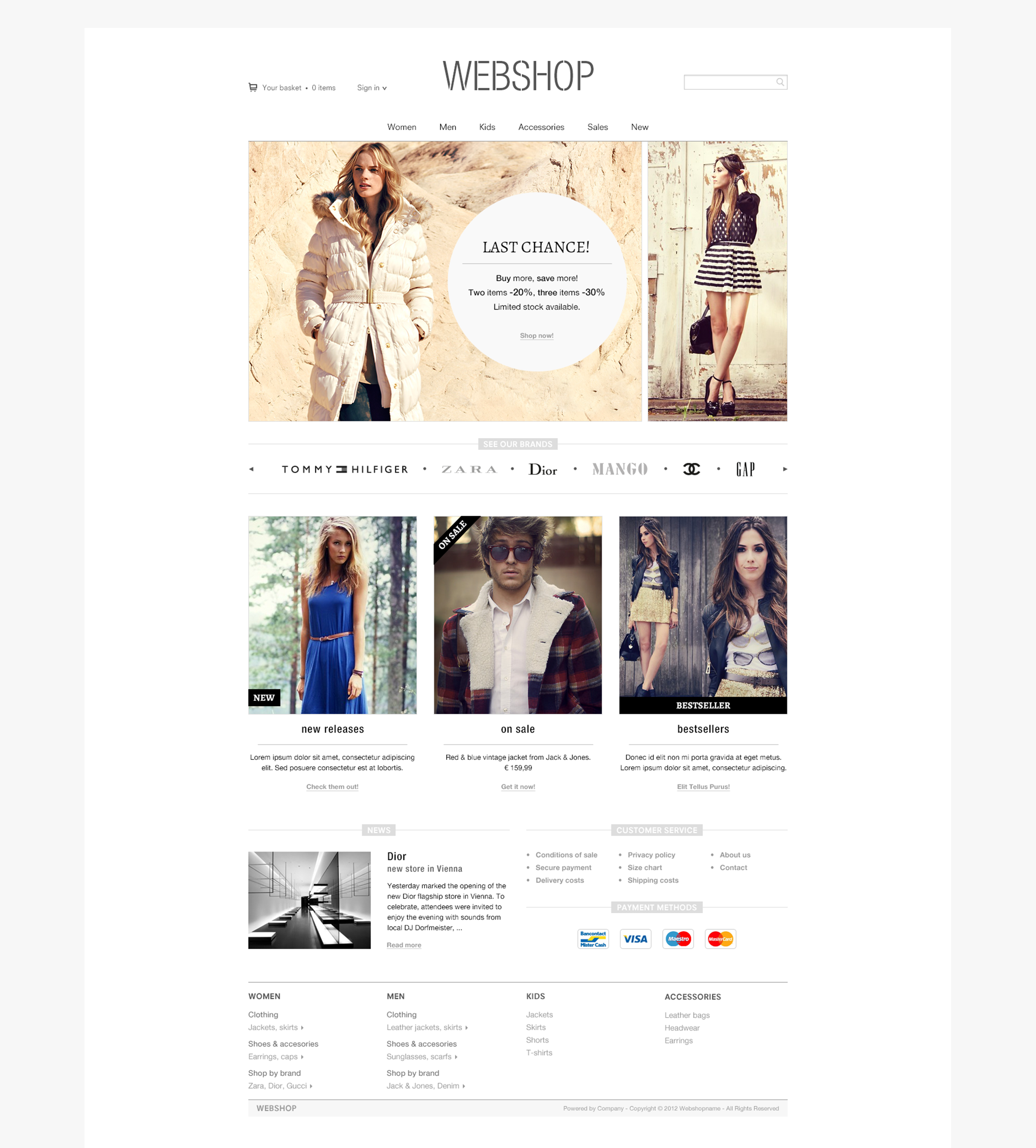 Webshop layout - homepage