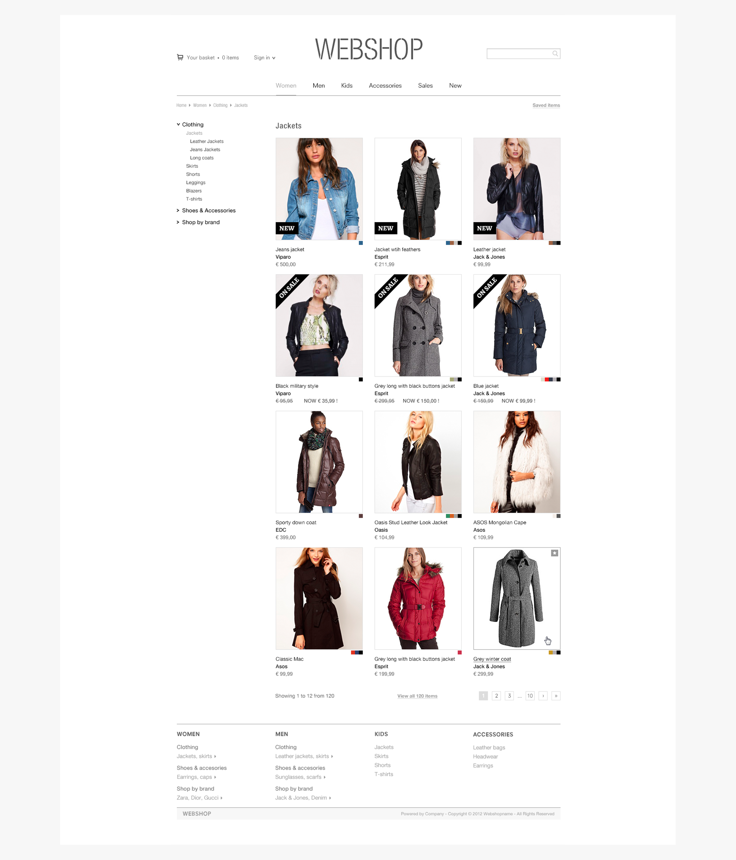 Webshop layout - product pages