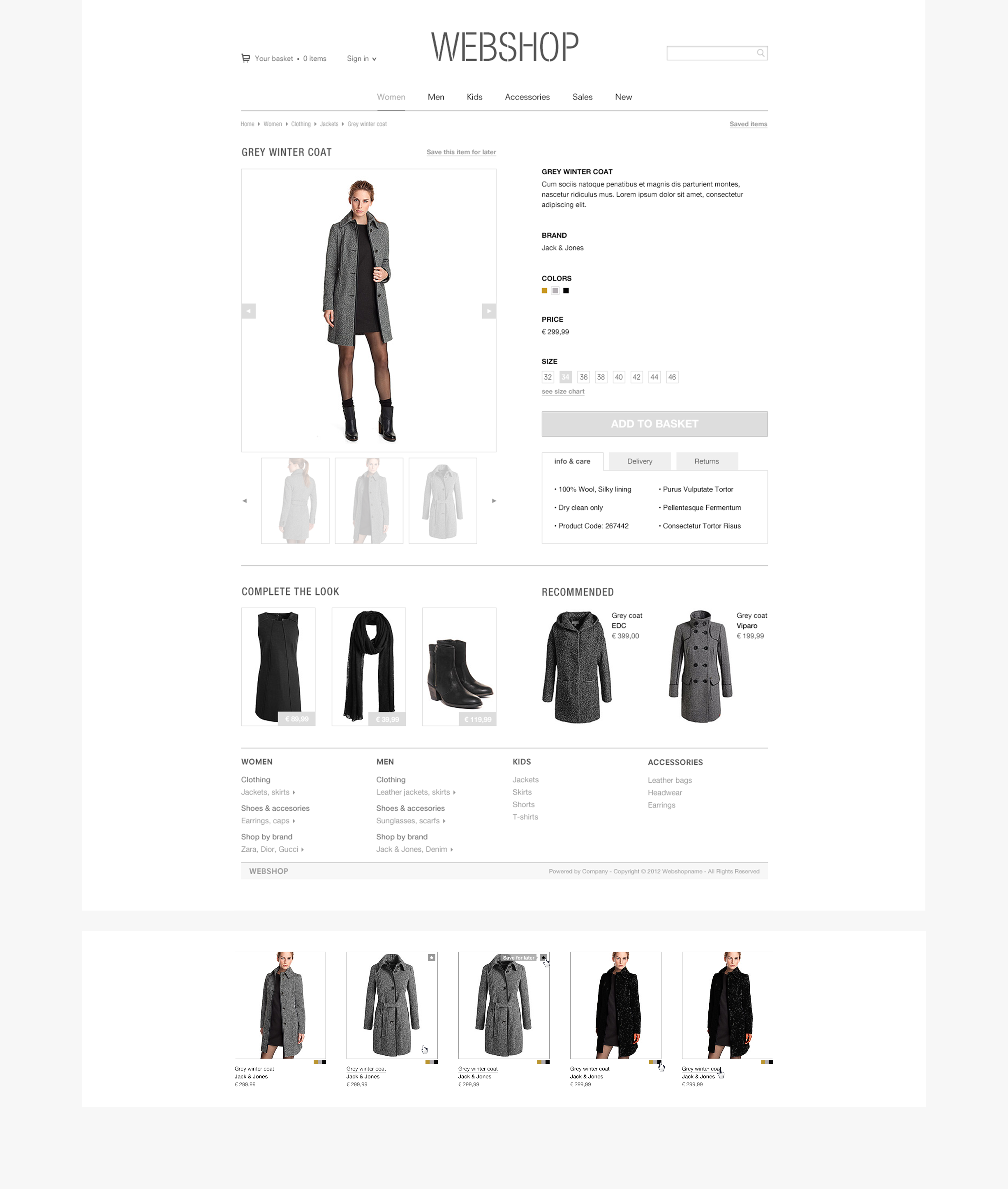 Webshop layout - product pages - product hovers - details