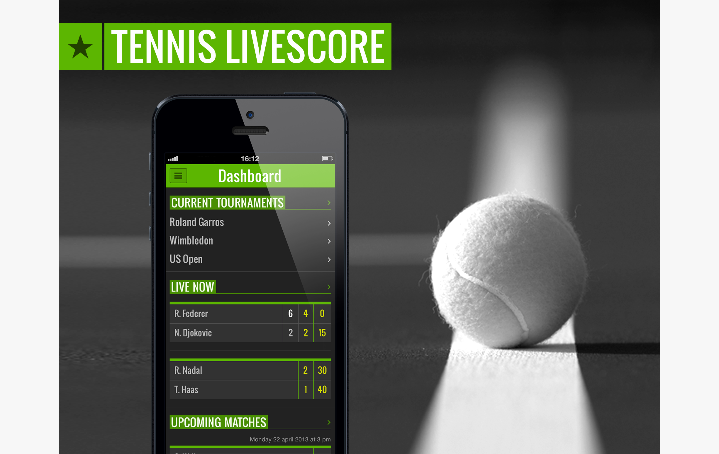 Tennis livescore - header - dashboard