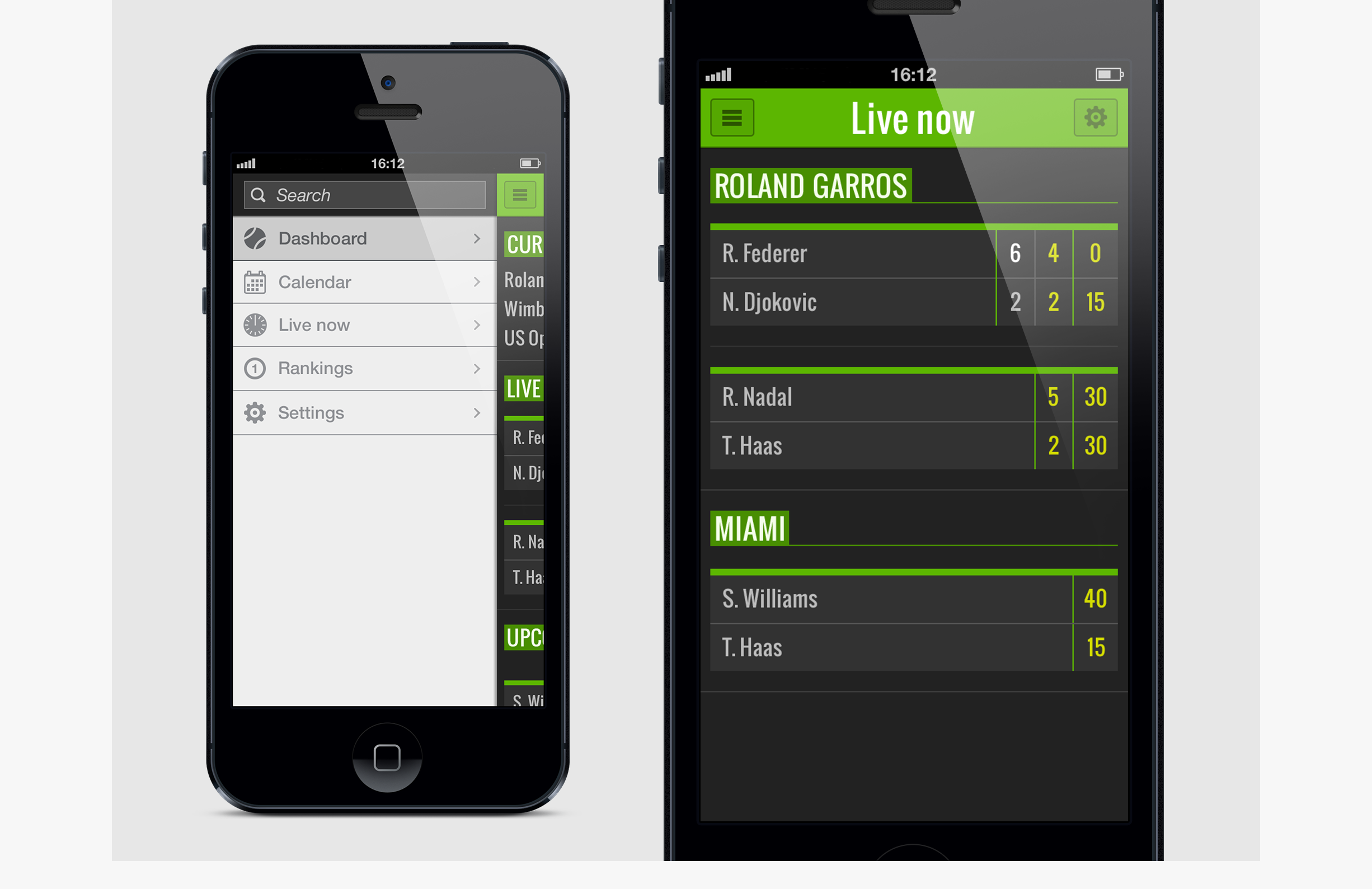 Tennis livescore - detail - live now - sidemenu