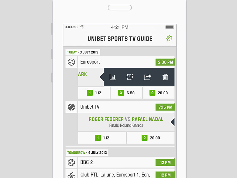 Unibet TV Guide