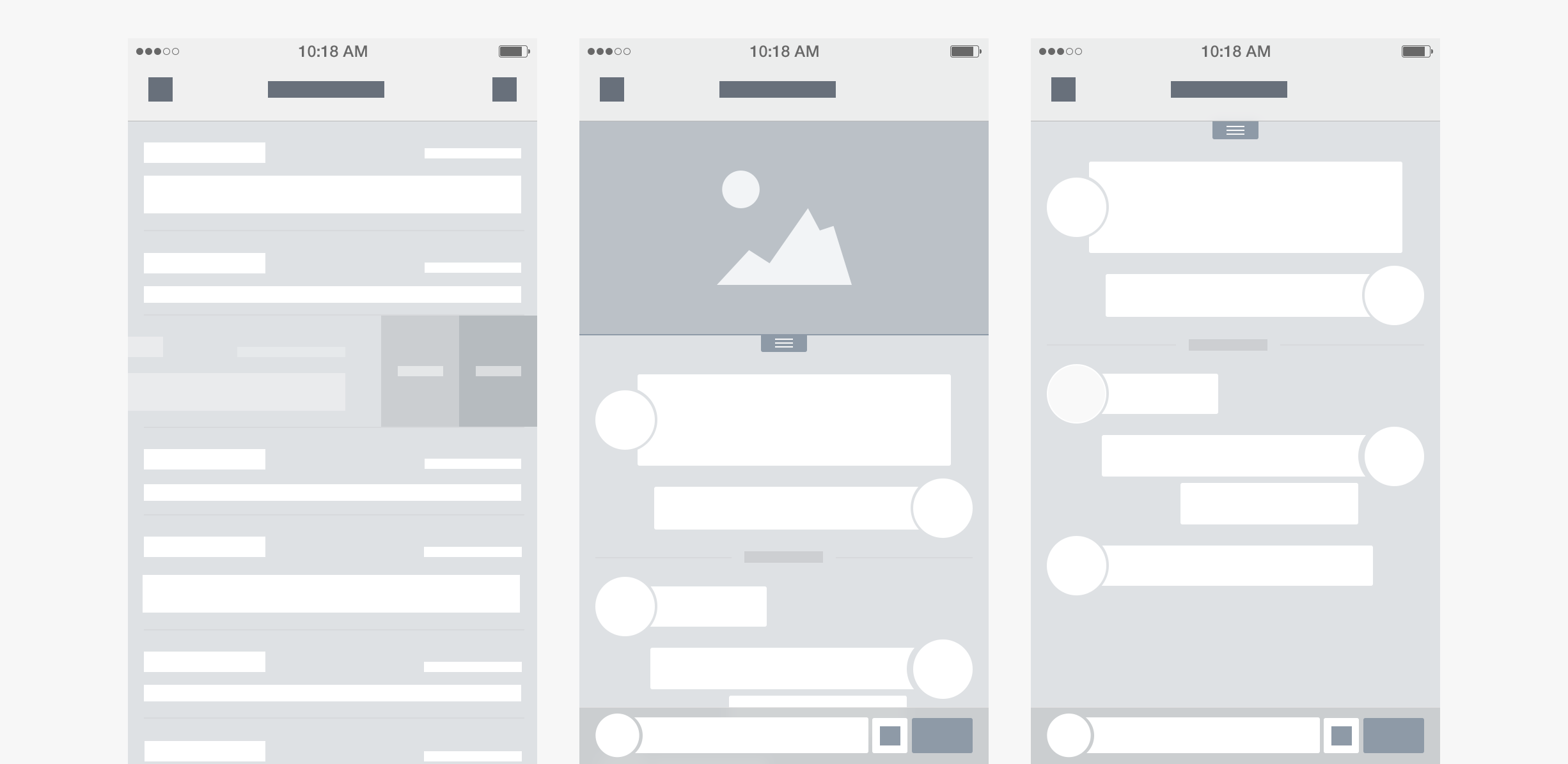 Messenger app - wireframes