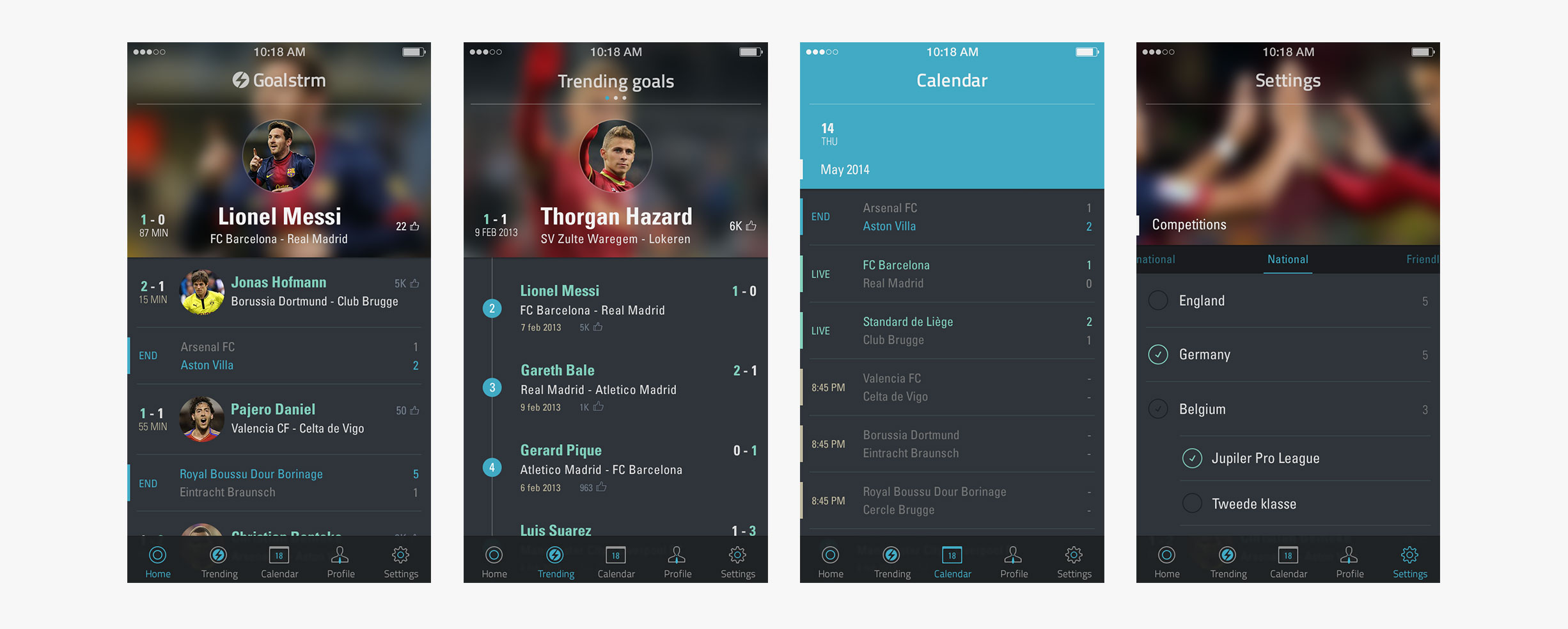 Goalstrm - different screens : dashboard - trending goals - calendar - settings