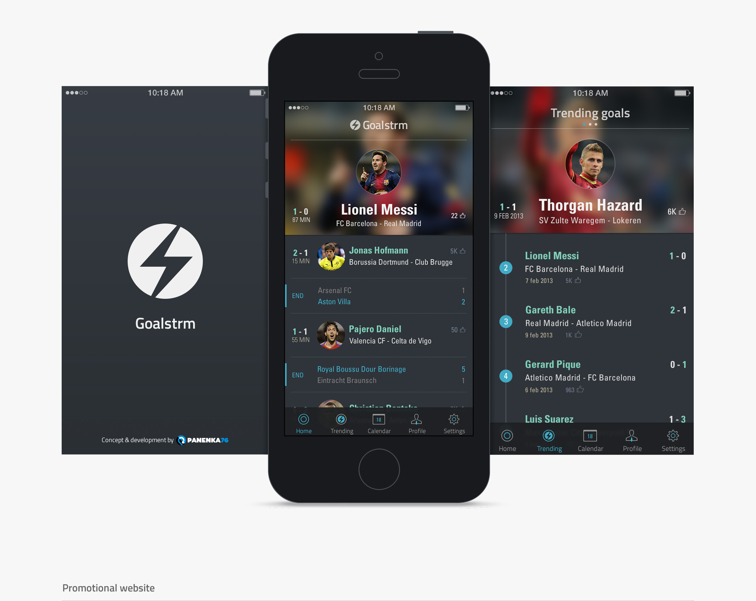 Goalstrm - splash screen - launch image - dashboard - trending goals - trending players